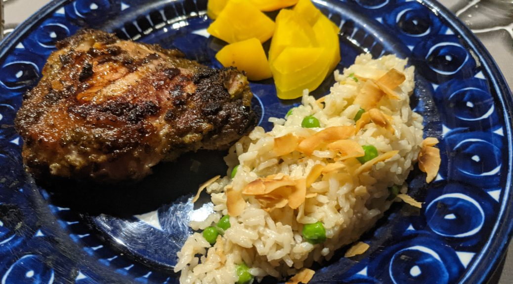 Jerk chicken with rice and squash