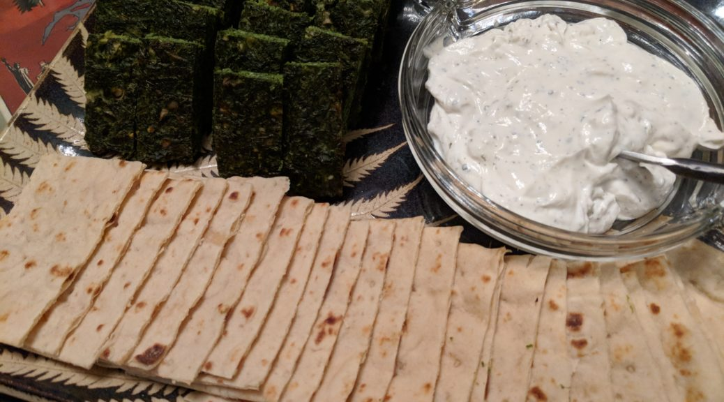 Fresh Herb Kuku with yogurt spread and lavash